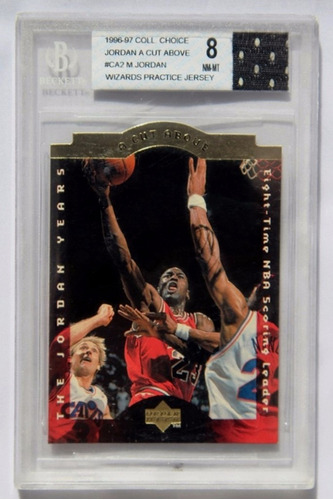 michael jordan tarjeta beckett cut above w patch grado 8