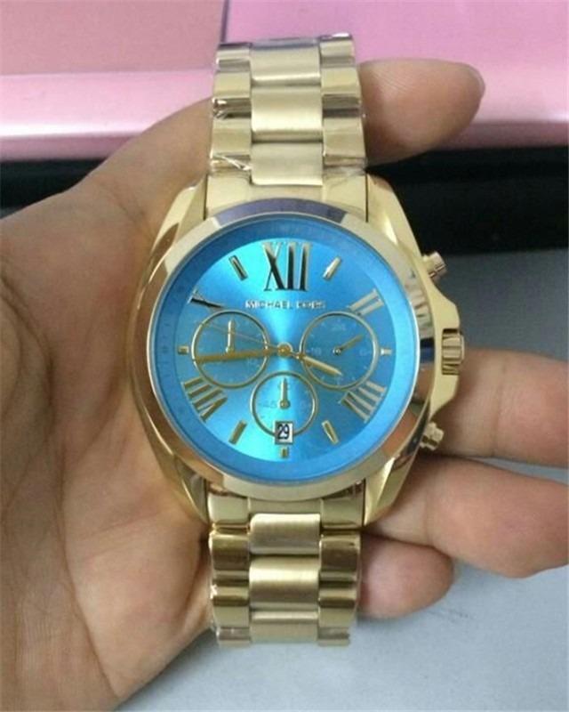 Relógio Michael Kors Mk5975 Dourado E Turquesa Com Caixa - R  1.349 ... 0817cbaea4