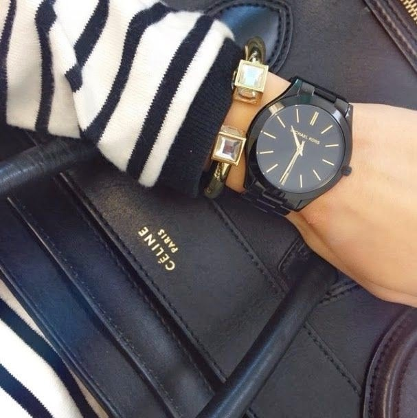 Relógio Michael Kors Mk3221 Preto Fino Ouro Original Top - R  316,40 ... 421e850995