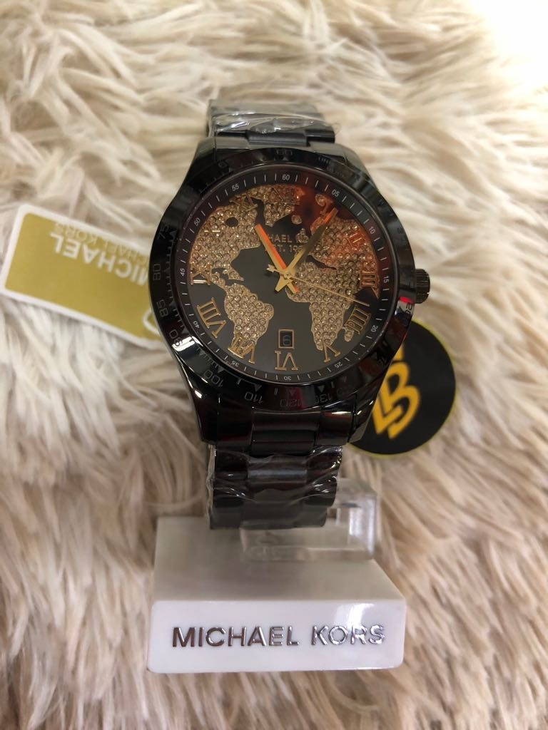 b4544678807 Relógio Michael Kors Mk6091 Preto E Dourado Mapa Com Caixa - R  819 ...