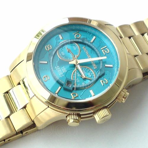 e5e214b2148 Relógio Michael Kors Mk8315 Dourado Grande Mapa Original - R  336