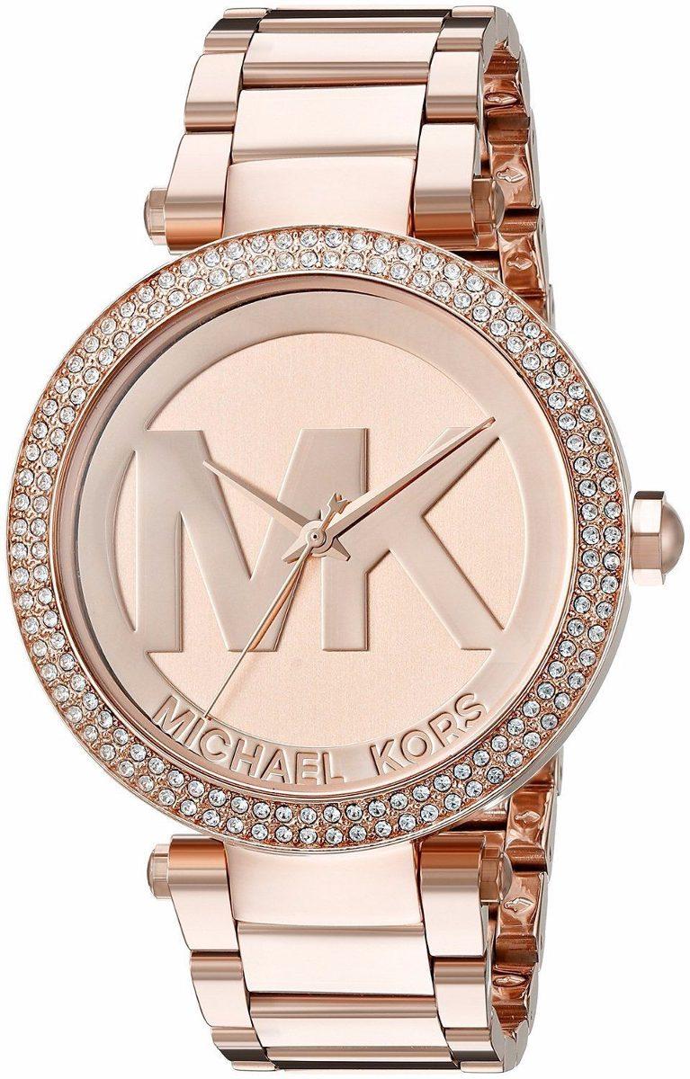 e90b5f2ac59c Michael Kors Reloj Mujer Rosado Mk5865 Parker Logo Grande ...