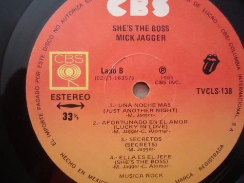 mick jagger / she's the boss vinyl lp acetato