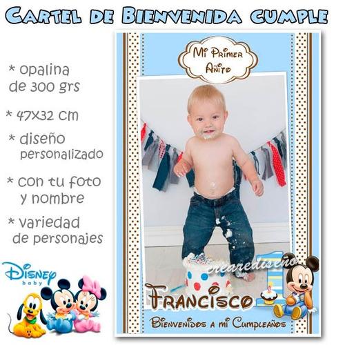 mickey bebe primer  - cartel cumple confoto y nombre divino!