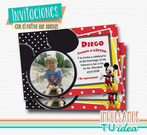 mickey - invitación con foto para imprimir