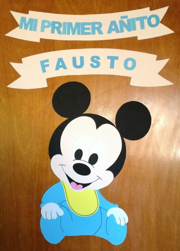 Mickey Mouse Bebe Cartel Feliz Cumple Primer Anito 250 00 En