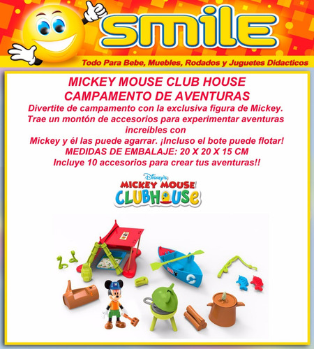 mickey mouse club house carpa campamento set aventura smile
