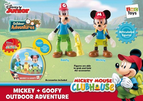 mickey mouse club house set 2 personajes + accesorios imc