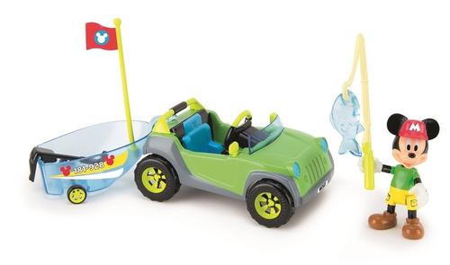 mickey mouse club house vehiculo 4x4 de aventura bote caña