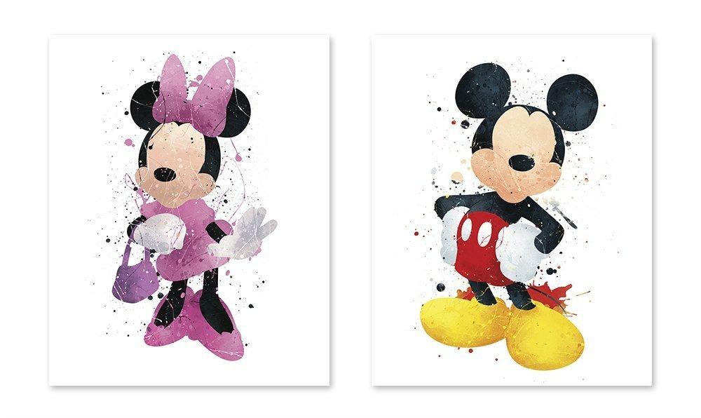 Mickey Mouse Inspirado En Acuarela Para Colorear Poster M ...