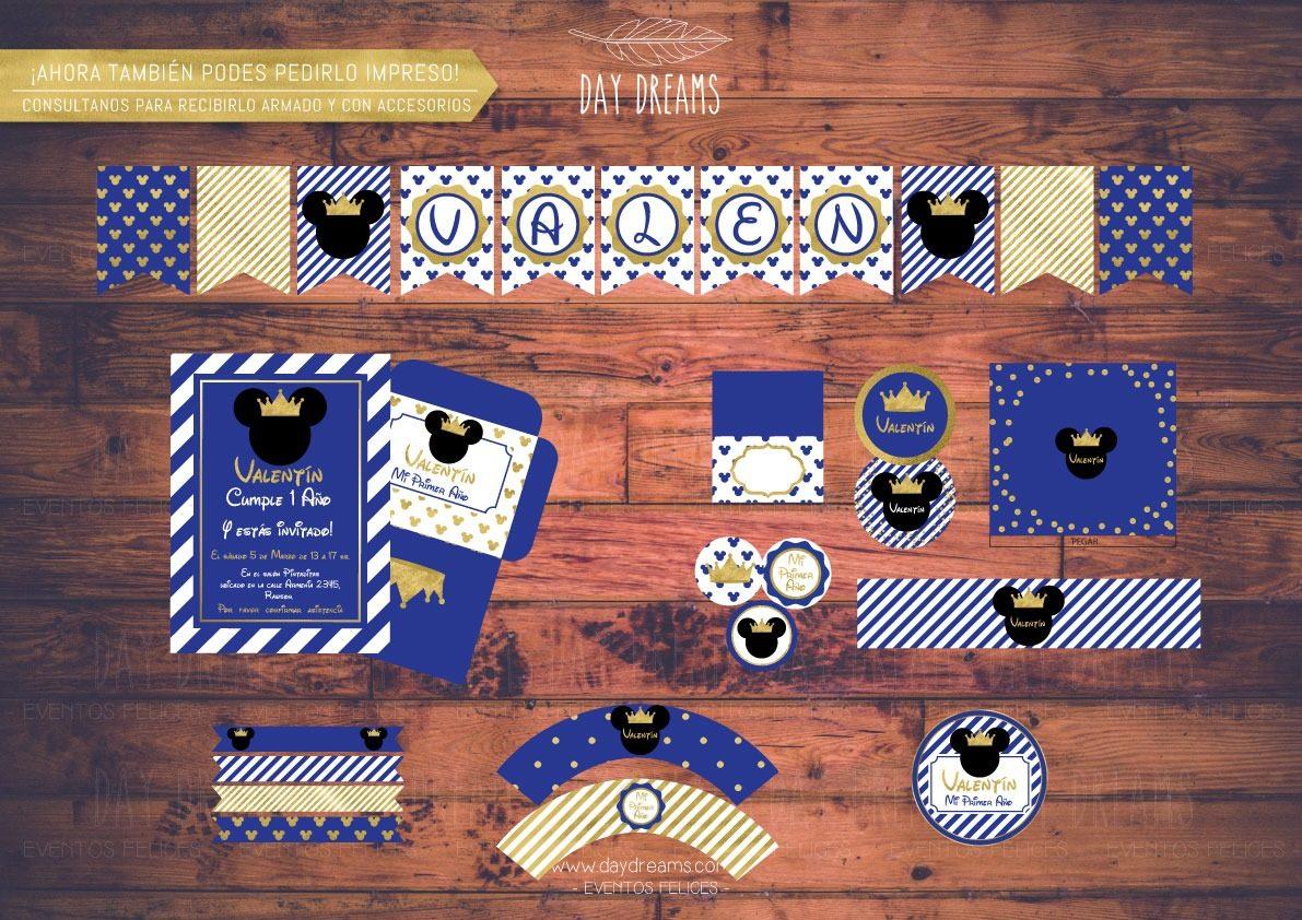 Mickey Principe Corona Kit Imprimible Personalizado Candy 330 00