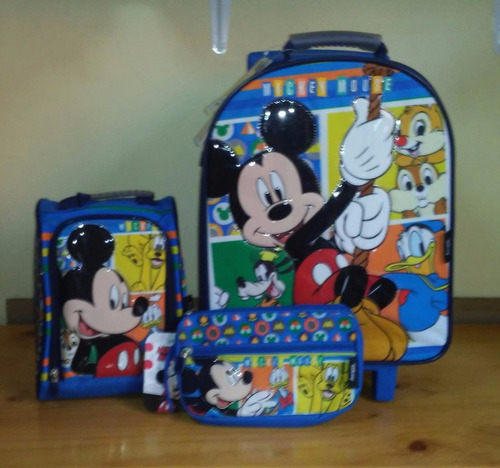 mickey set  pack 3 piezas maleta lonchera cartuchera oferta!