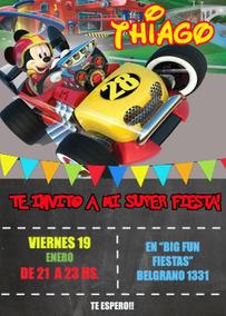 Mickey Sobre Ruedas Invitación Tarjeta Digital Imprimible