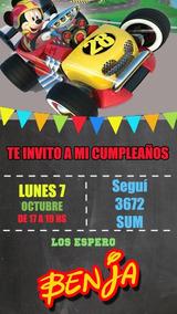 Mickey Sobre Ruedas Invitación Tarjeta Digital Whatsapp