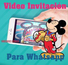 Mickey Sobre Ruedas Tarjeta Invitación Digital Vídeo Animado