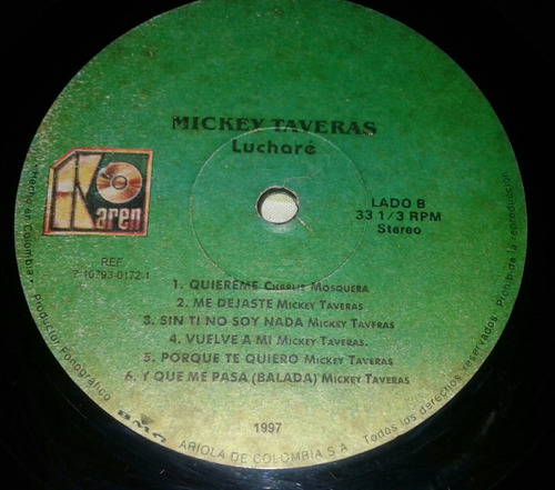 mickey taveras/ luchare/ me gustas/ salsa / lp vinilo