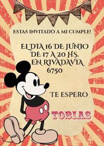 Mickey Vintage Tarjeta Invitación Imprimible Digital