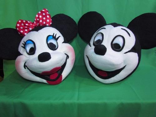 mickey y minnie, cabezas de muñecos.