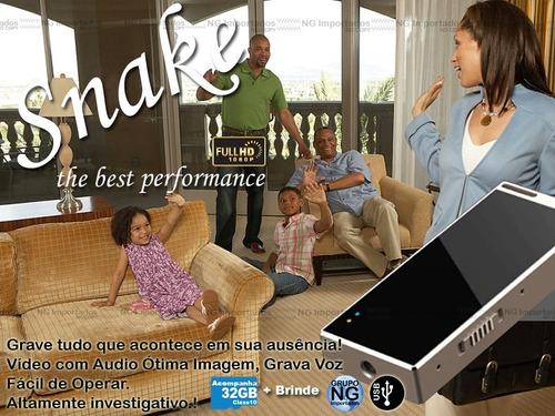 micro cam espiã  escola voz video hd snake + cartão 32gb