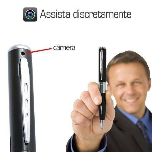 micro camera com audio na caneta espionagem camuflada 16gb