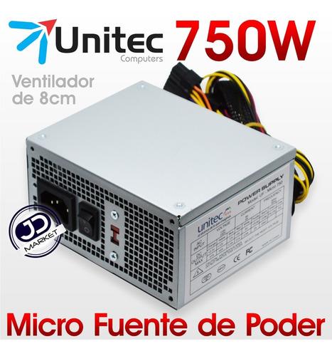 micro fuente de poder pc uf-micro atx 750 watts, 20-24 pines