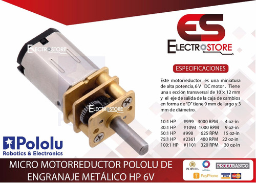 micro motor pololu metálico hp high power 6v 5:1 10:1 30:1