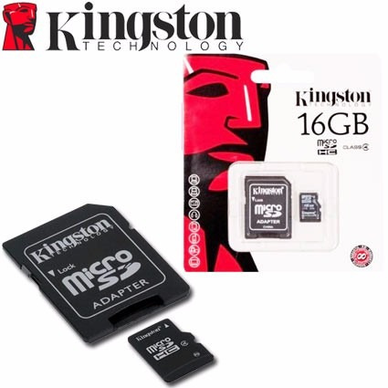 micro sd 16 gb kingston  + adaptador - garantizada clase 4
