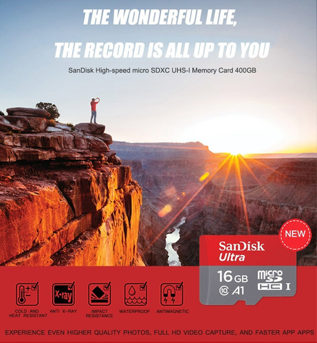 micro sd 16gb sandisk original uhs-i clase10, a1, 98mb/s 4k