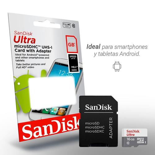 micro sd 16gb sandisk ultra c10 memoria