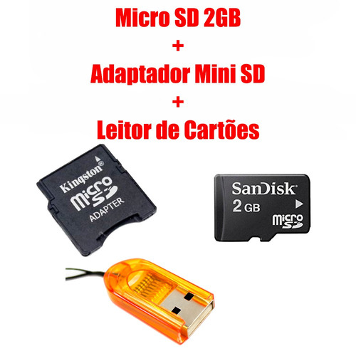 micro sd 2gb + adaptador minisd + leitor de cartões - top