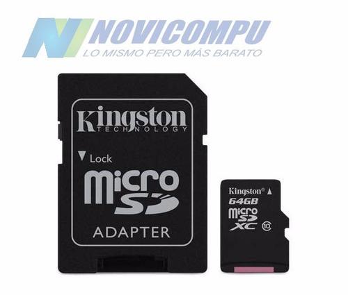 micro sd 64gb clase 10 con adp kingston