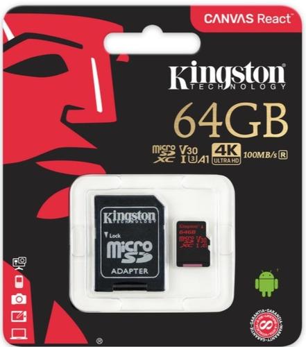 micro sd 64gb kingston canvas react v30 uhs-i u3 100mb/s