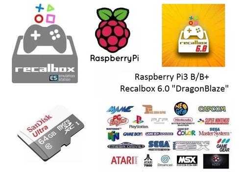 micro sd 64gb raspberry pi3 b/b+ 86 sistemas e 14.015 jogos