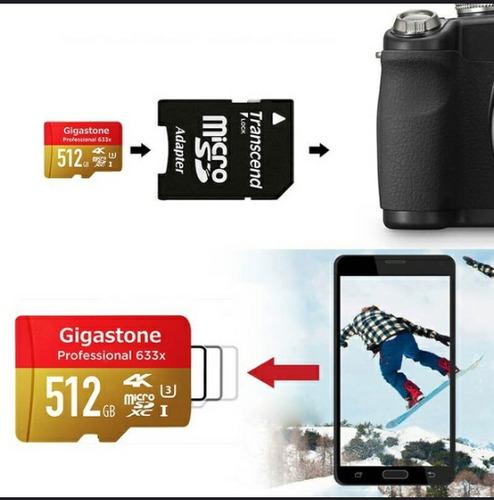 micro sd gigastone protarjeta micro 512gb u3 4k hasta 95mb/