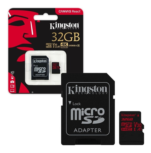 micro sd kingston 32gb 4k 100mb/s v30 a1 con adaptador origi