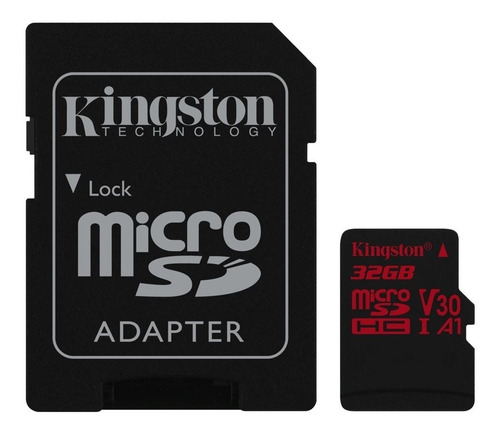 micro sd kingston 32gb 4k 100mb/s v30 a1 con adaptador origi