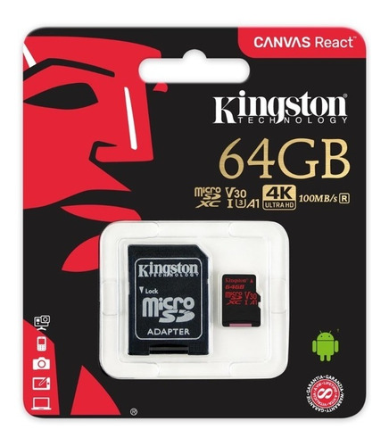 micro sd kingston 64gb 4k 100mb/s v30 a1 con adaptador origi