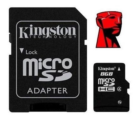 micro sd kingston + adaptador 16 gb clase 4