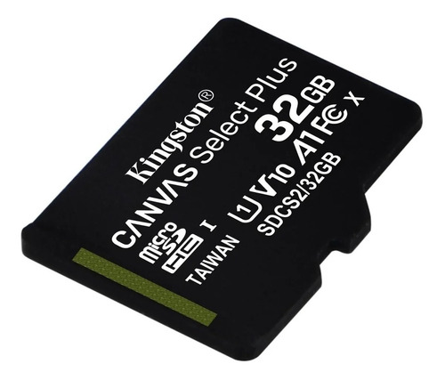 micro sd kingston canvas select 32gb clase 10 100 mb read hd