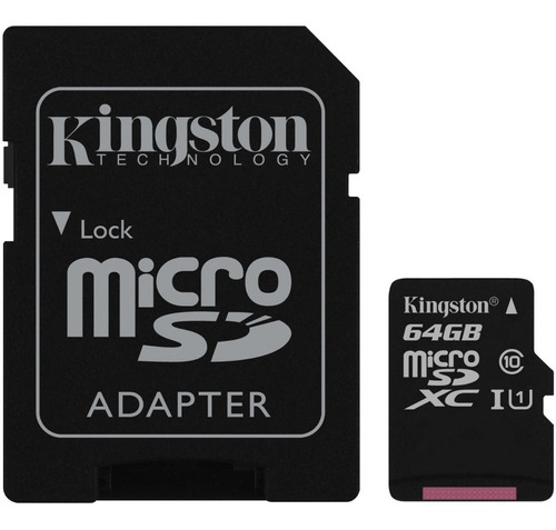 micro sd kingston canvas select 64gb clase 10 100 mb read hd