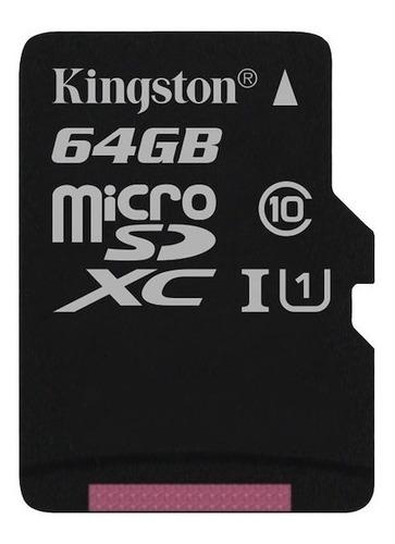 micro sd kingston canvas select 64gb clase 10 80 mb read hd