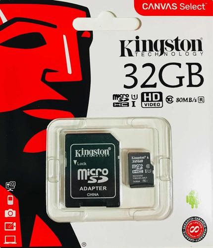 micro sd kingston original. 32gb 80mb/s clase 10 gar. 5 años