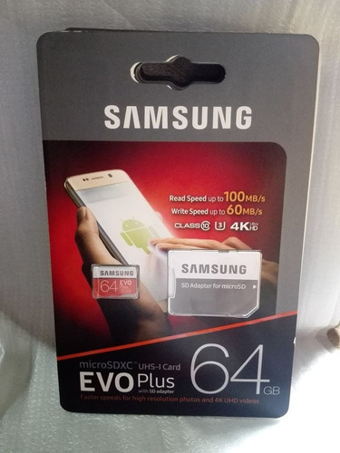 micro sd samsung 64 gb 4k 100mb/s 100% original