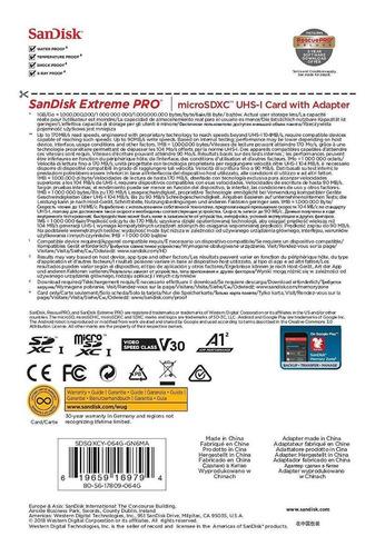 micro sd sandisk extreme pro 64gb 4k 170mb/s u3 a2 c10 v30