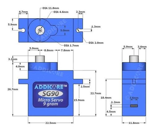 micro servomotor sg90 tower pro piñon plastico arduino