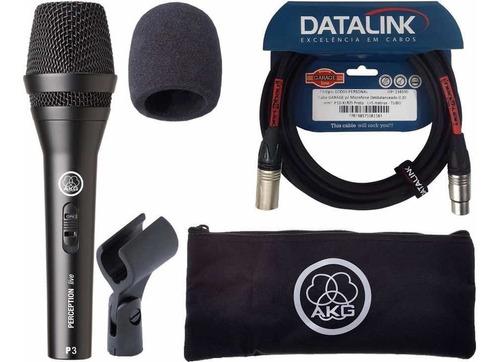 microfone akg p3s dinâmico com cabo 5mts datalink xlr espuma