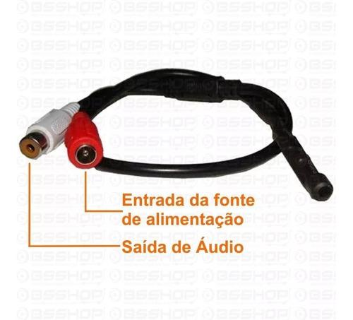 microfone amplificado para câmera de cftv dvr c/ nf