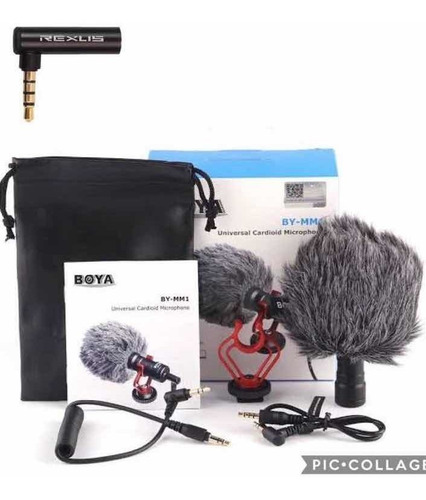 microfone boya by mm1 (osmo pocket - gimbal) + adap 90 graus