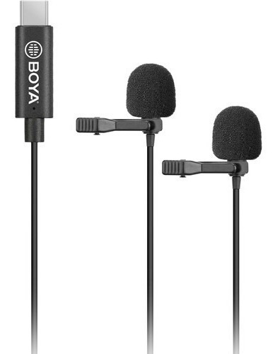 microfone boya lapela duplo by-m3d  com usb tipo-c