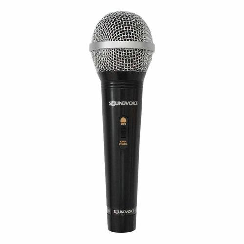 microfone com fio sm100 dinâmico com chave soundvoice